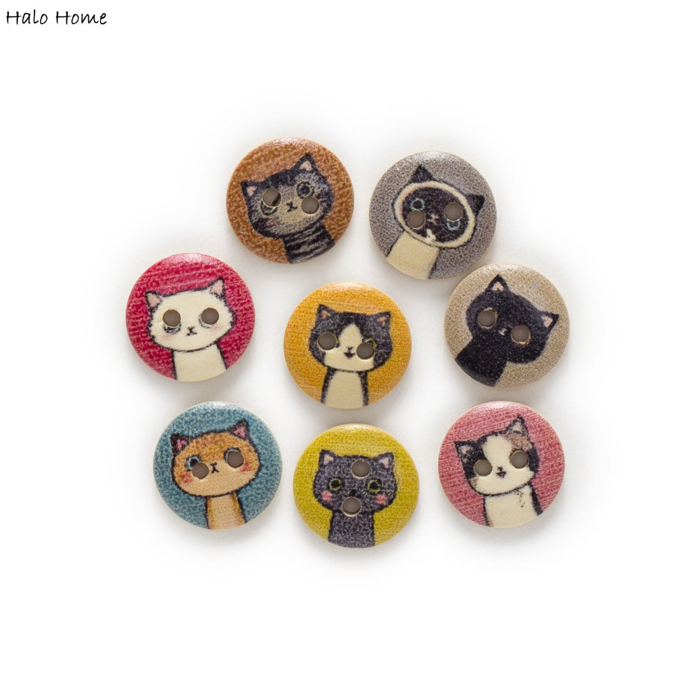 50pcs 2 Hole Cat Round Wood Buttons Home Decor Sewing Scrapbooking 15mm