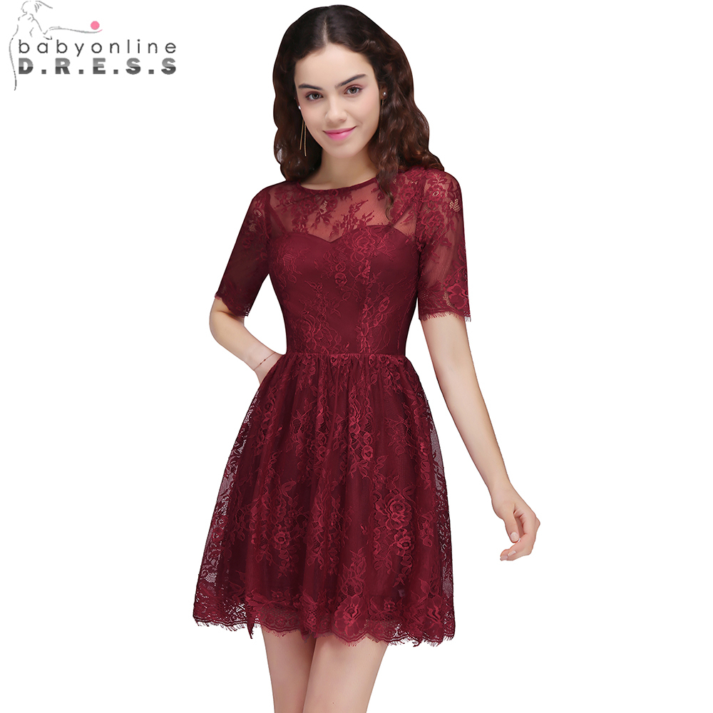 Babyonline New Short Sleeve Burgundy   Cocktail     Dresses   2017 Sexy Sheer Back Lace Mini   Dress   Above Knee Party   Dress   robe   cocktail