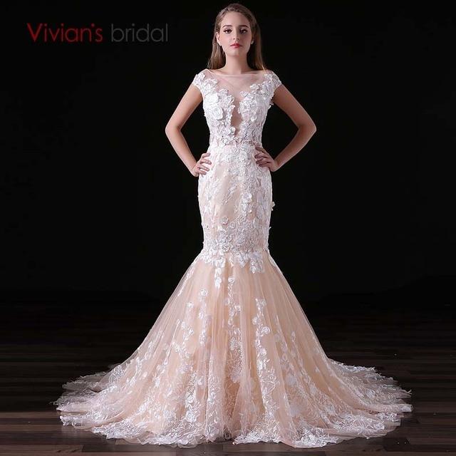 Vestido De Noiva Champagne Mermaid Wedding Dress Vivians Bridal