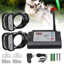 Cão elétrico sem fio cerca ao ar livre coleira de treinamento do cão de estimação à prova dwaterproof água recarregável transmissor receptor sistema de contenção do animal de estimação