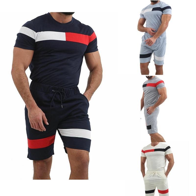 5e73923e5 SHUJIN Sport Suit hombres verano Fitness correr conjuntos de dos piezas  camiseta Tops pantalones ...