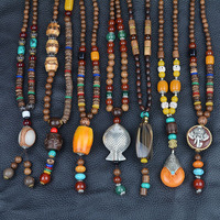 National Retro Long Sweater Necklace Pendant Summer Couple Cotton Clothes Pendant Decorative Wood Beads Collares Mujer