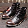 Retro Mens Dos Tonos Top Zip Plisado de Cuero Genuino Martin Botas de Hombre de Negocios Casual Alto-top Zapatos Oxford De Vestir