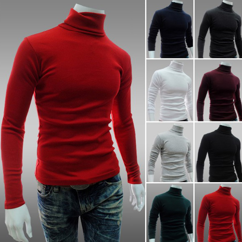 2019New Autumn Winter Men'S Sweater Men'S Turtleneck Solid Color Casual Sweater Men's Slim Fit Brand Knitted Pullovers