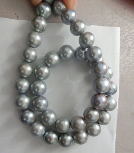 ОГРОМНЫЙ AAA + 11 12 мм круглый ЮЖНОГО МОРЯ серый жемчужное ожерелье 18 дюймов Бесплатная доставка