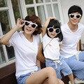 Летний стиль семьи комплект хлопок твердые коротким рукавом семейные комплекты одежды новинка свободного покроя Большой размер семьи соответствующие наряды