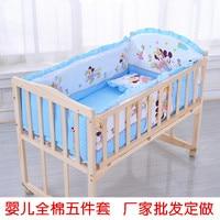 5pcs/set children bedding set 120*65cm cotton crib set bumpers pillow mattress back cushion children's bed linen minnie mikey