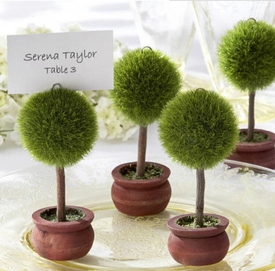New 4pcs Creative Garden Theme Tree Plants Place Card Holder Message