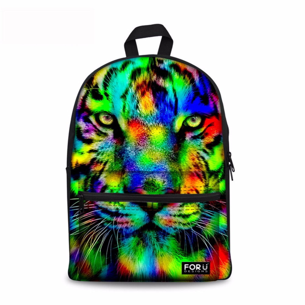 Noisy Designs Preppy Style School Backpack for Teenager 3D Animal Lion Tiger Kids Printing Backpack Zoo Casual Women Boys Girls