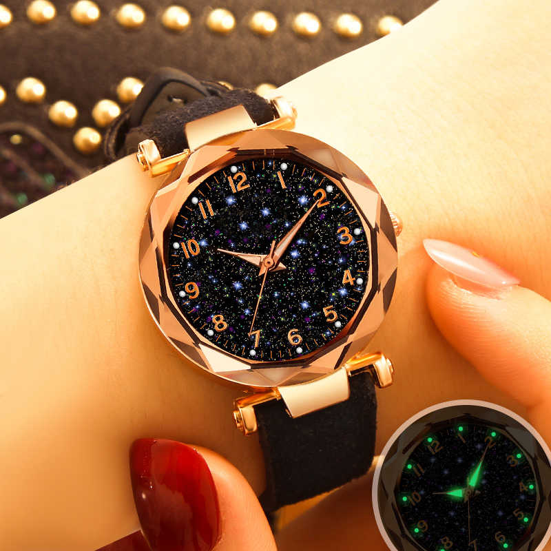 Luksusowe Starry Sky zegarek dla kobiet moda damska zegarek kwarcowy czerwony skórzany wodoodporny zegar relogio feminino zegarek damski