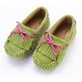 2016 Осень Детская Обувь Девушки Кожаные Ботинки Моды Бахромой Бантом Принцесса Детская Мокасины Удобные Плоские Туфли Девочек