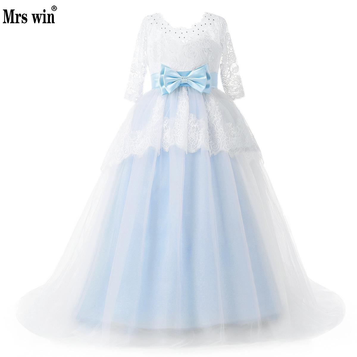 Pageant Dresses For Girls Sky Blue Lace Applique Tulle With Crystal Flower Girl Dresses Long Sleeves A Line Kids Evening Gown