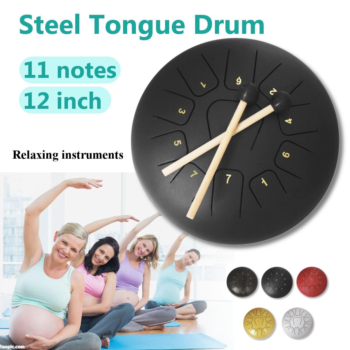 12 ''langue en acier tambour 11 Notes Handpan tambour Tankdrum Instrument avec maillets sac de rangement pour enfants adultes Instruments de Percussion - 2