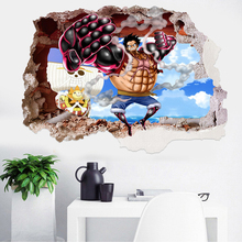 Creative Home Decor 3D Wall Stickers Cartoon One Piece Luffy Pattern For Baby Room Decoration Mural Art Decals Wallpaper