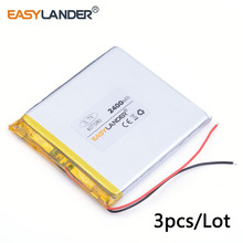 3pcs /Lot 3.7V 407080 3000 mAh lithium Li ion polymer rechargeable battery For GPS Tablet PC Speaker E-book power bank PAD PSP