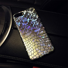 KSTUCNE Discoloration Iridescent Laser Phone Case For iPhone 7 8 6 6S Plus X  Crocodile Pattern Cases Cover Shells Coque Capa