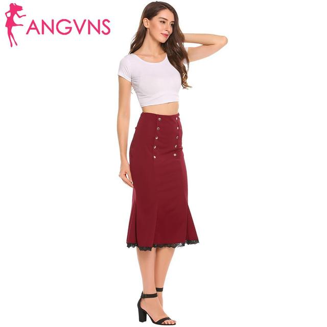 ANGVNS Party Slim Mermaid Pencil Midi Skirt Womens Summer Vintage High Waist Elastic Work Office Women Hip Fishtail Skirt Button 4