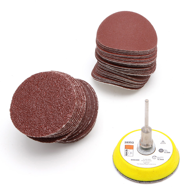 60Pcs 2'' 50mm Sandpaper 60-320 Grits with M6 Self-adhesive Wool Polishing Disc 100pcs 2 50mm sander disc sanding polishing pad sandpaper 80 3000 grits