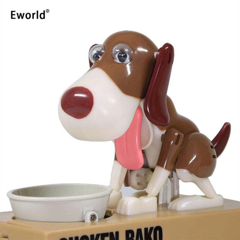 Eworld Robotic Hungry Eating Dog Banco Canino Money Box Money Bank Automatic Stole Coin Piggy Bank