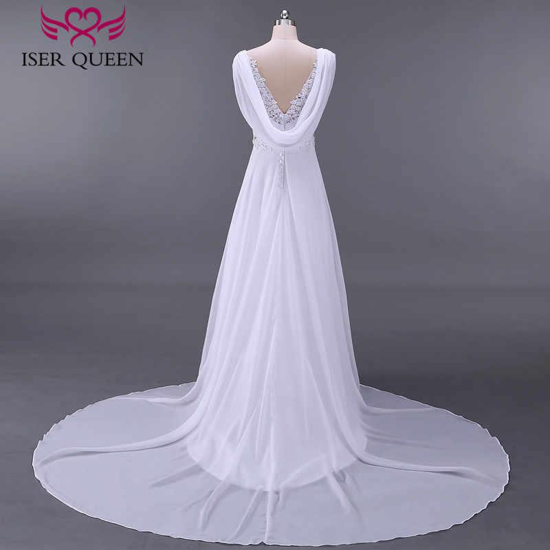 אופנה חוף חתונת שמלות אימפריה בהריון שמלת כלה ללא משענת עם לעטוף בתוספת גודל משפט רכבת שיפון כלה שמלת W0125