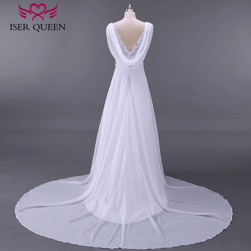 Fashion Beach Wedding Dresses Empire Pregnant Wedding Dress Backless With Wrap Plus Size Court Train Chiffon Bridal Dress W0125-in Wedding Dresses from Weddings & Events    3
