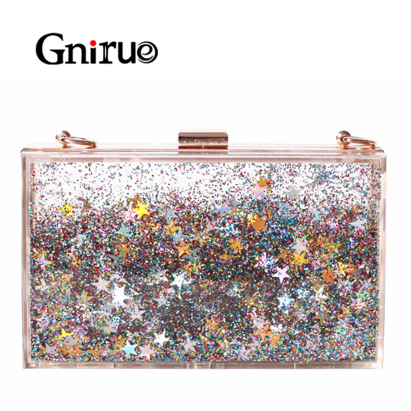 Transparent Rectangular Liquid Quicksand Acrylic Clutch Evening Bag Women Shoulder Bags Sequins star Party Clear Purse HandbagTransparent Rectangular Liquid Quicksand Acrylic Clutch Evening Bag Women Shoulder Bags Sequins star Party Clear Purse Handbag