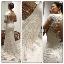 2014 Fashion Long Sleeve Wedding Dresses Sheer Sheath Sweetheart Applique Lace Beads Covered Back Bridal Gown yk1A094