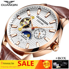 GUANQIN 2019 Skeleton Tourbillon Mechanical Automatic Watch Men Luxury Brand Luminous Gold Watch Reloj Hombre Relogio Masculino все цены