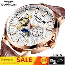 GUANQIN 2019 squelette Tourbillon mécanique automatique montre hommes marque de luxe lumineux or montre Reloj Hombre Relogio Masculino