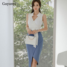 Solid Stitching Office Dress Sleeveless Sexy V-Neck High Waist Asymmetrical Slim