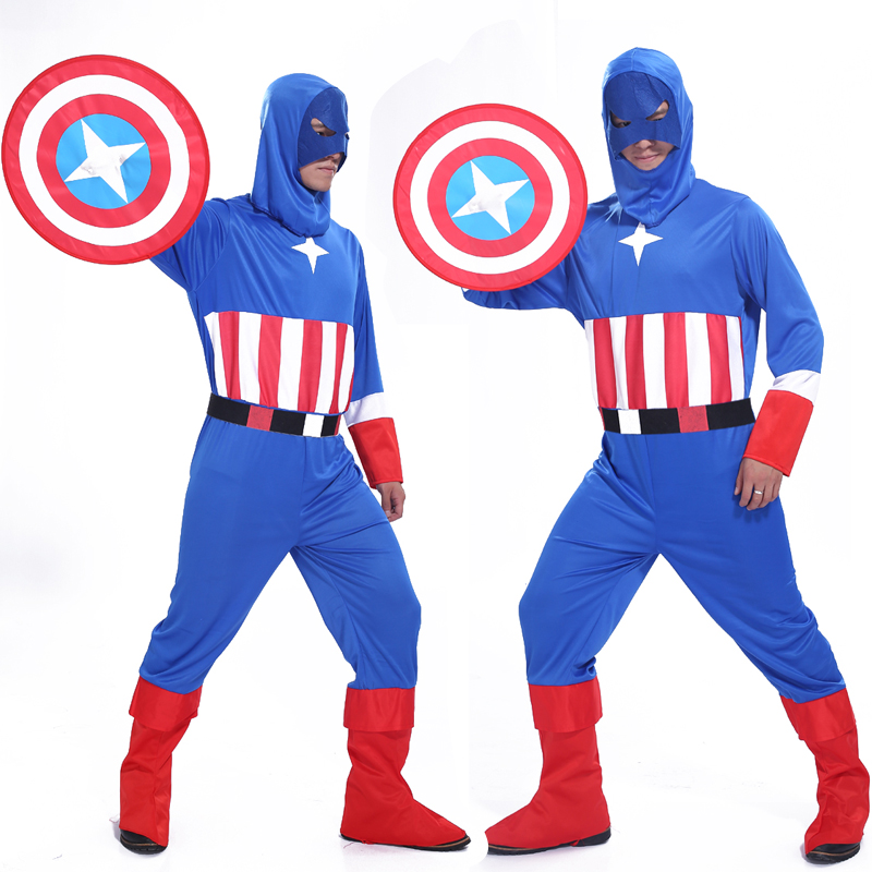 Free shipping Adult Halloween masquerade party COS Avengers Captain America costume parents installed