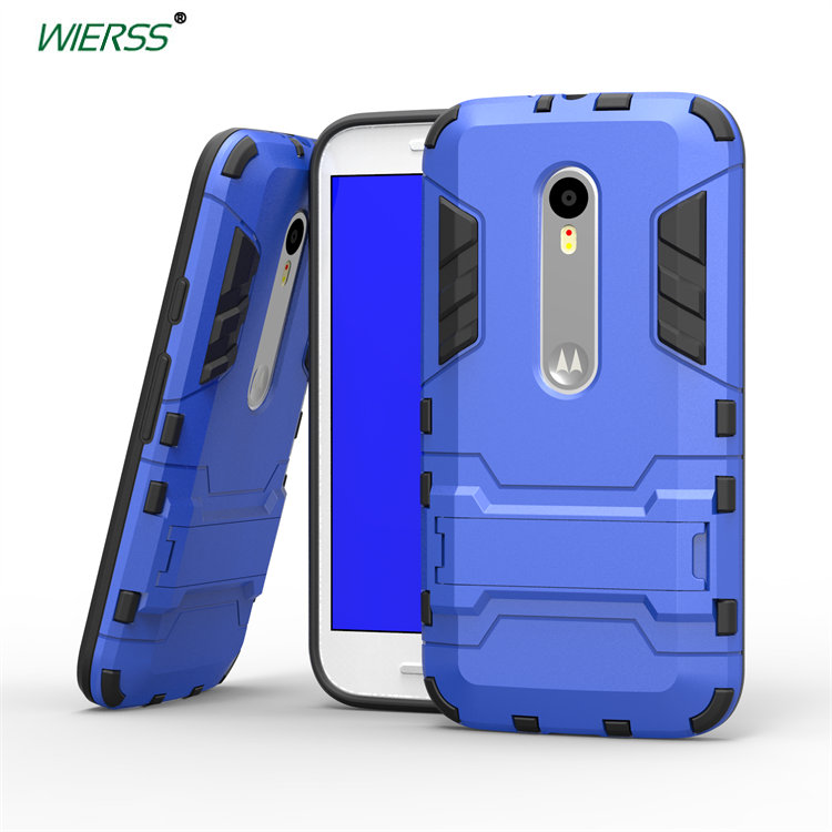 3D Luxury Combo Armor Case For Motorola Moto G Turbo Edition XT1556 5-inch Shockproof Back cover Case shell with Stand