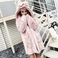 Harajuku Japanese Flurry Hoodies Women Sweatshirts Winter Plush Long Thicken Fleece Hooded Coat Outwear