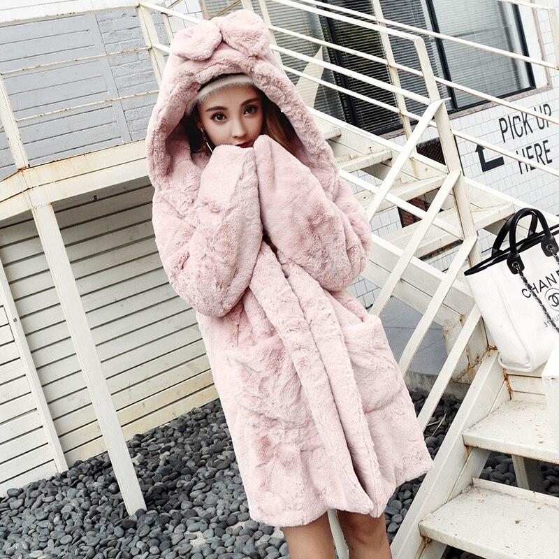 Harajuku japonais flou vestes à capuche femmes Sweatshirts hiver en peluche longue épaissir polaire à capuche manteau Outwear