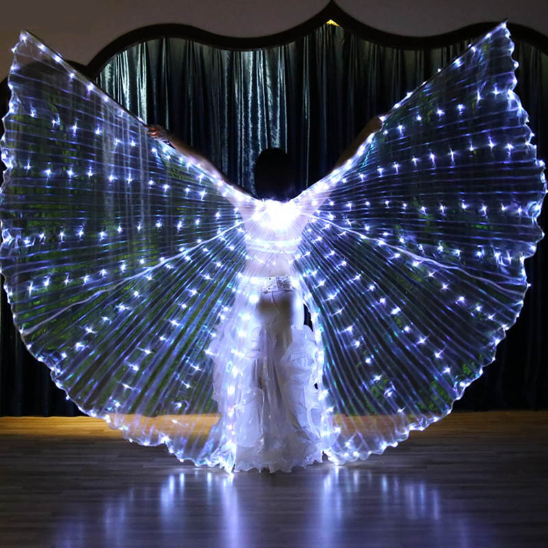 New Forked Tail Egypt Isis Belly Dance LED Shining Wings Dance White Color Hot Indian Dance Women bellydance Wing With Stick