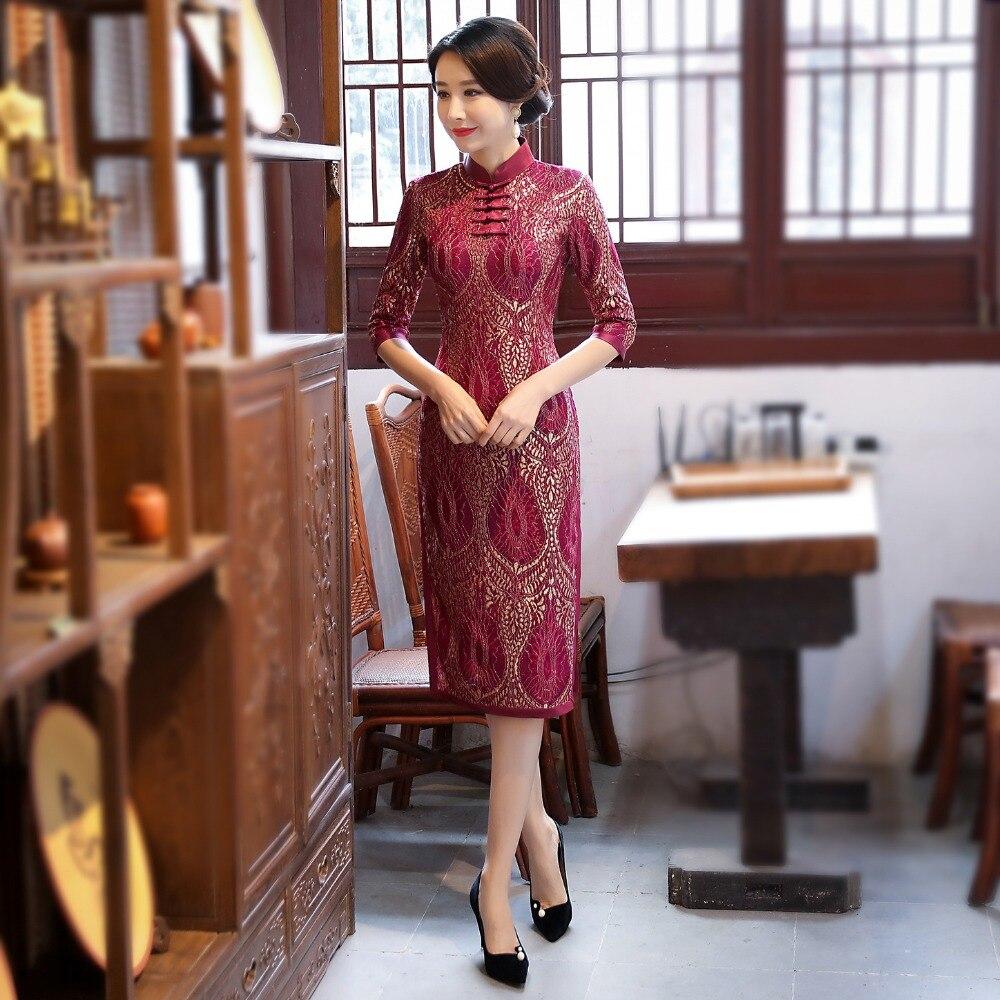 5216 Formato Pro Cinese Cheongsam Corto 5216 Manica 5216 Nuovo Qipao Mandarino Donna Modo 3xl Del S 5216 Arrivo vestito Fiore Di Mezza Merletto Collare P7wTFq71Y