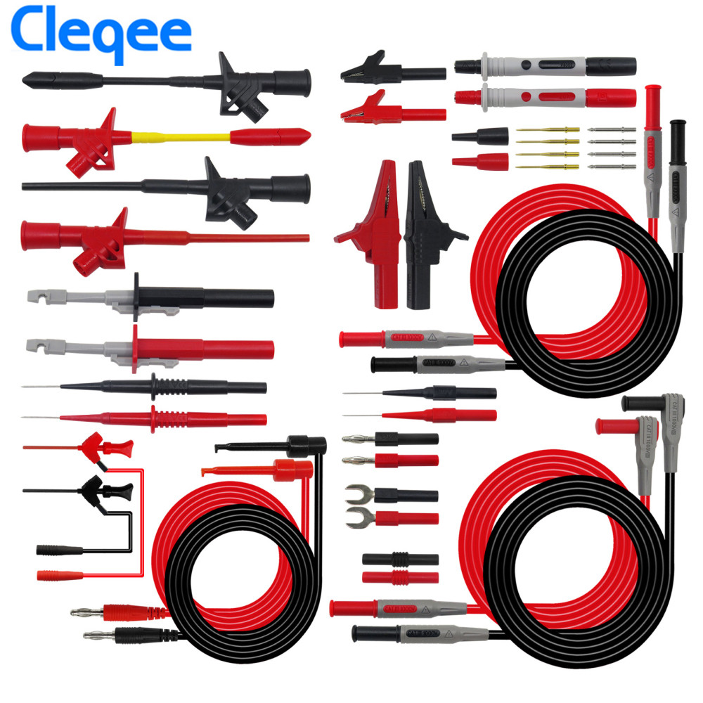 Cleqee P1600E 18 in 1 Pluggable Multimeter Probe Test Leads Kit Automotive Probe Set IC Test Hook BNC-Test CableCleqee P1600E 18 in 1 Pluggable Multimeter Probe Test Leads Kit Automotive Probe Set IC Test Hook BNC-Test Cable