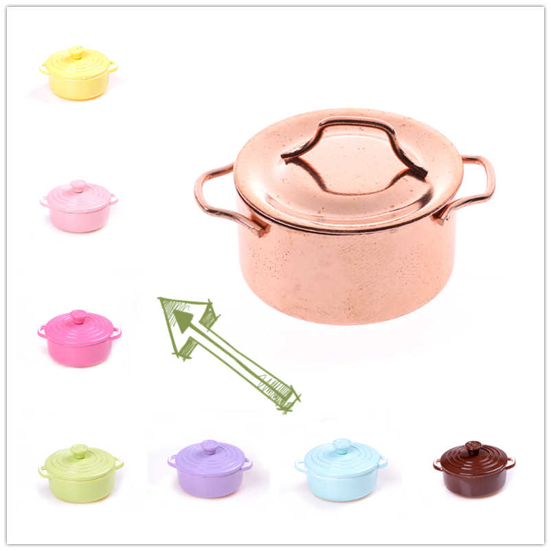 Mini tableware dish bowl Copper Pot with Lid tableware set Dollhouse Miniature Toy Doll Food Kitchen living room Accessories