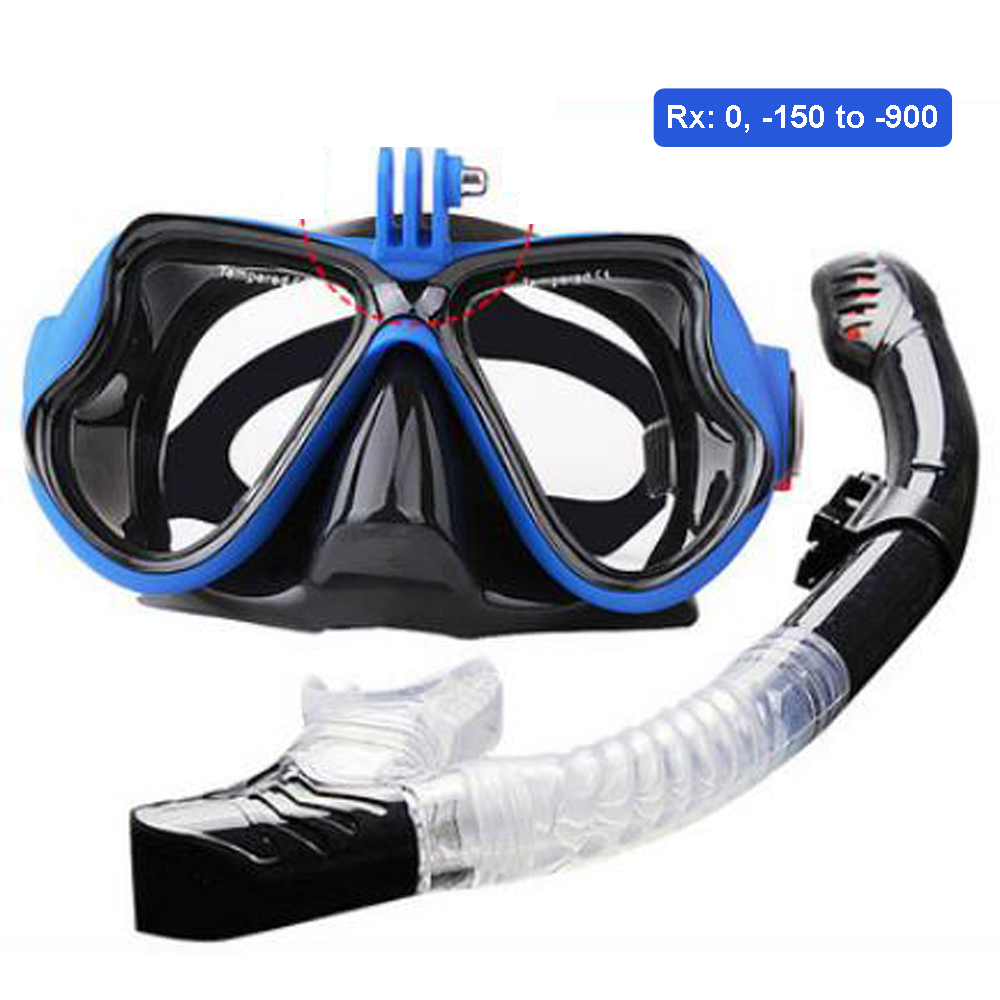 Optical Snorkelling Gear Kit Myopia Scuba Set Gopro Mount Custom Strength Diving Mask Dry Top Breathing Tube Rx -150 to -900