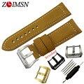 Zlimsn 24mm pulseiras de relógio de couro dos homens de camurça amarelo pulseira pulseira de aço inoxidável fecho relojes hombre 2016