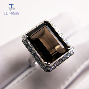 Image 2 - TBJ,Classic big size gemstone ring with Natural smoky oct10*14mm in 925 sterling silver special gemstone jewelry gift for women