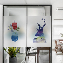 Frosted glass stickers Ins Nordic style Rose flower Bathrooms balcony door windows electrostatic transparent opaque film