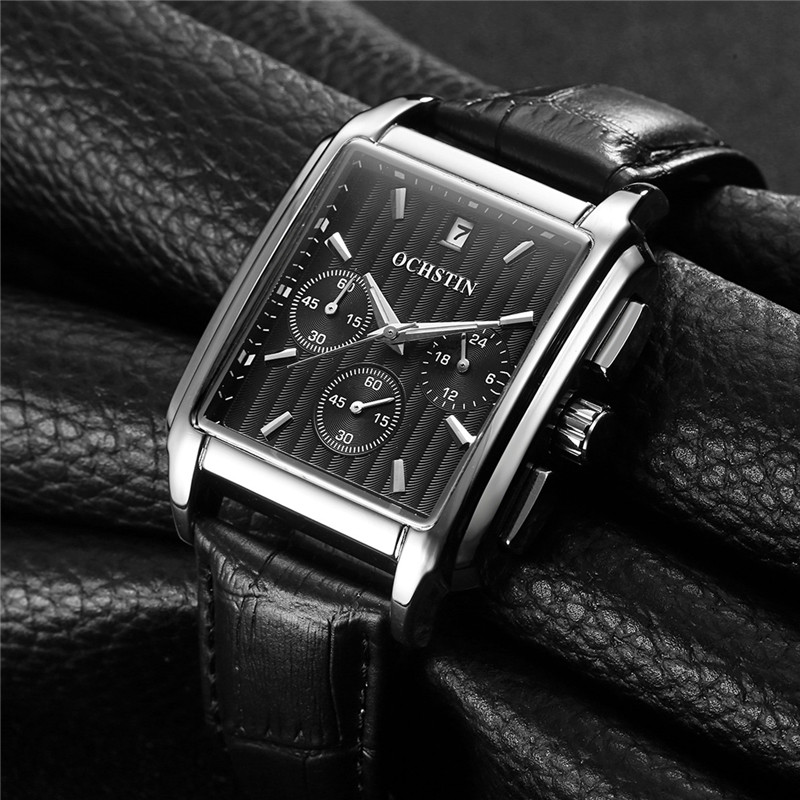 2017 Luxury Brand OCHSTIN Military Watch Men Quartz Analog Clock Leather Strap Clock Man Sports Watches