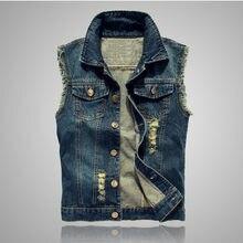 44b53c1c2b4 Мотоцикл Жан жилет Куртки без рукавов для мужчин весна-осень Повседневная  мода тонкий синий джинсовый жилет большой Размеры 6xl .