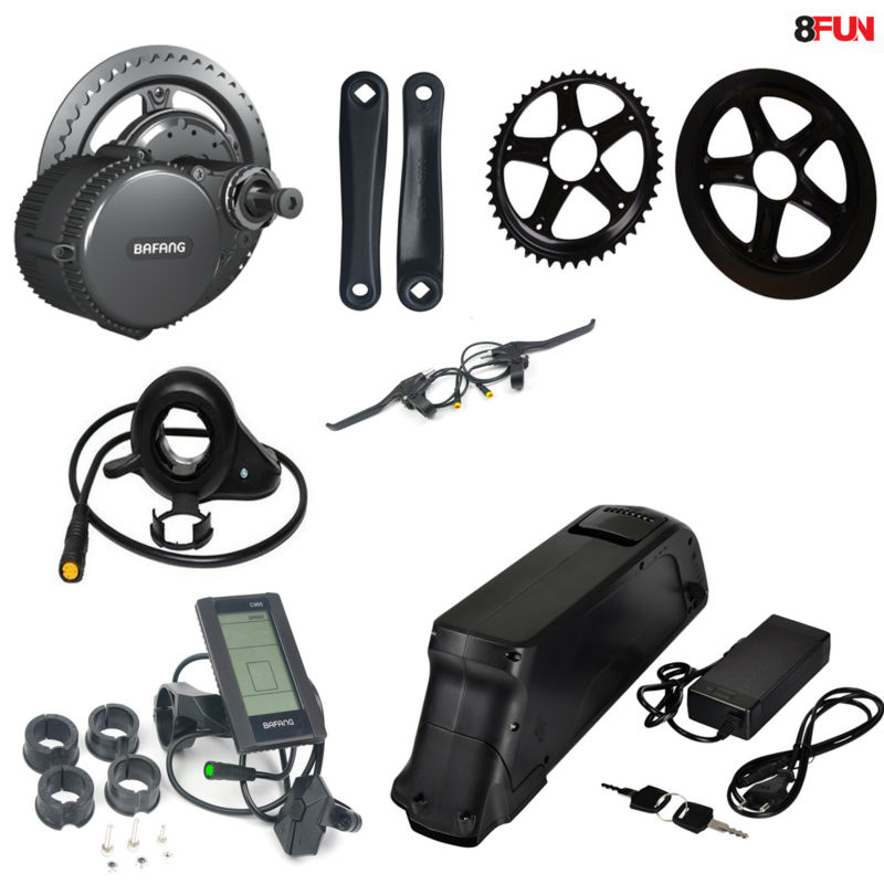 BBS02 48V 750W Bafang mid drive electric motor kit with 48V 12Ah Li-ion down tube ebike battery free customs taxes and shipping rechargeable lithium ion battery 48v 15ah li ion ebike battery for 48v 750w bafang 8fun motor