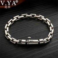 V.YA 6/8mm width Solid 925 Sterling Silver Men Bracelets Bangles Vintage Thai Silver Men's Heavy Bracelet 18 19 20 cm