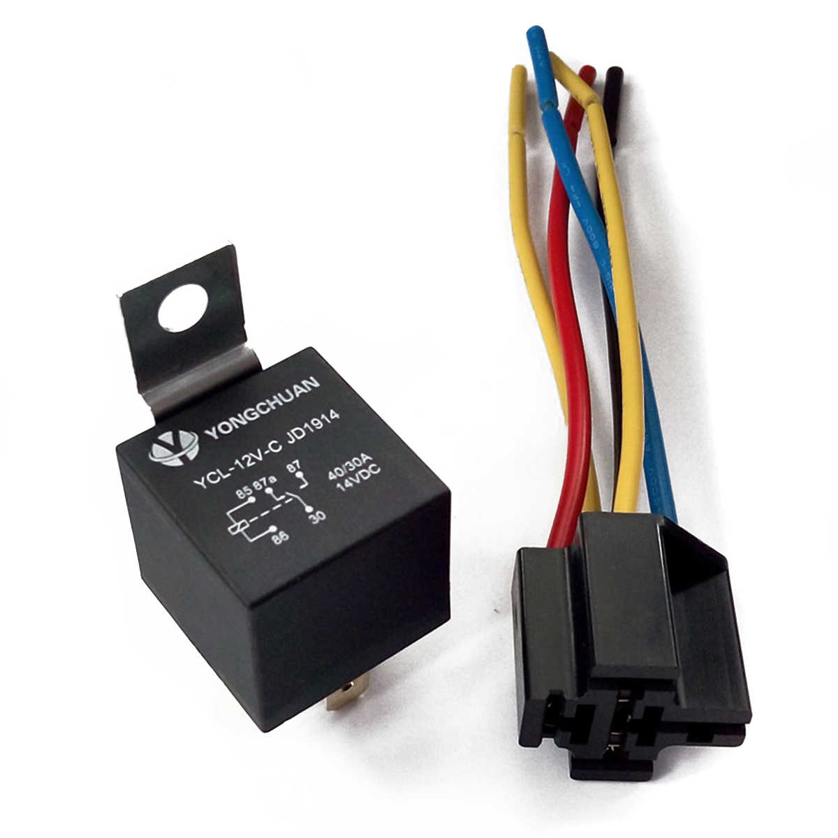 hight resolution of  5 set dc 12v 40a amp relay socket spdt 5 pin 5 wire ycl
