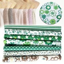 2019 7pcs 25*25cm Green Cotton Fabric Dot Striped Floral Printed Assorted Squares Pre-Cut Quilt Quarters Bundle DIY Patchwork