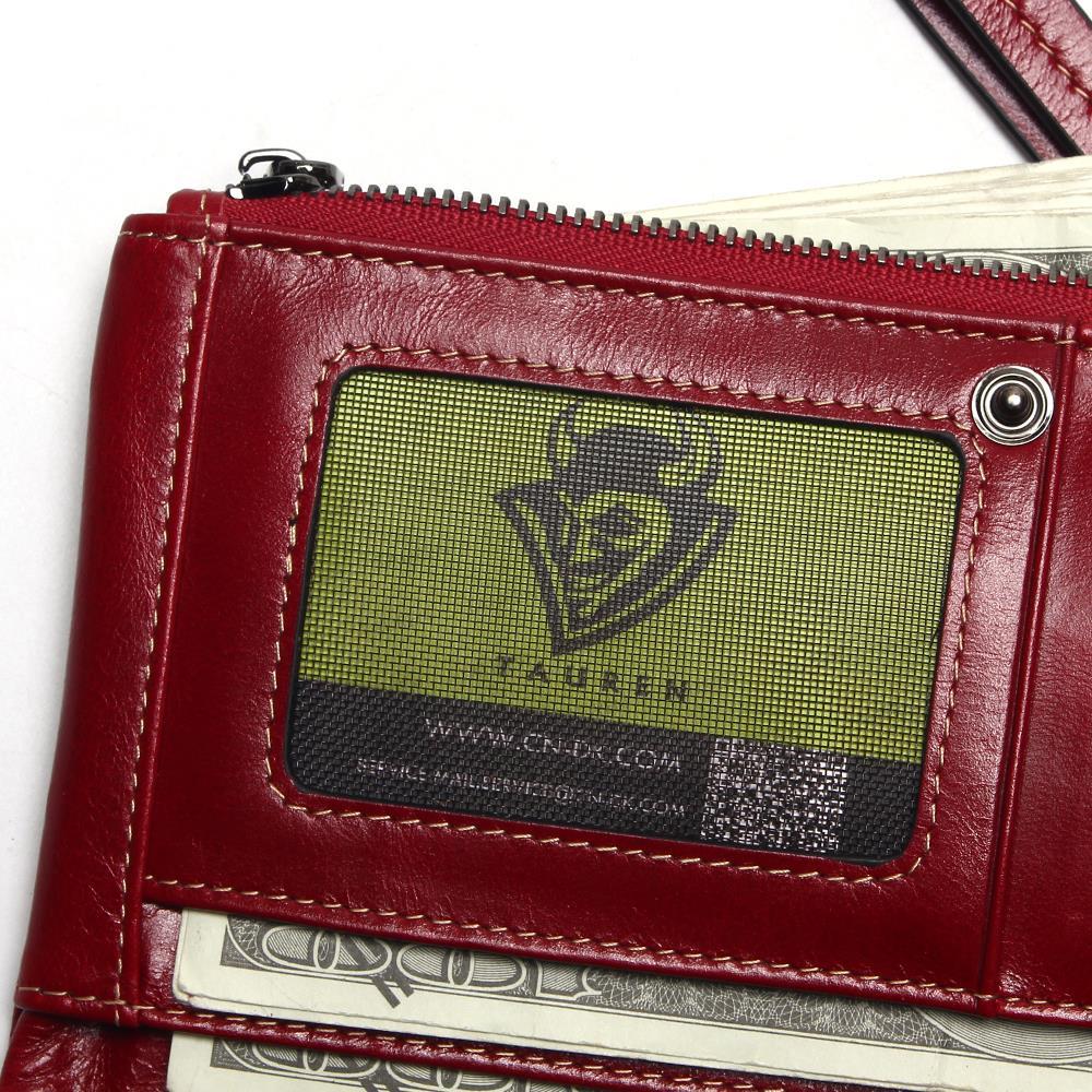 Image 5 - Women Phone Bag New Soft Oil Wax Genuine Leather Wallet Long  Designer Male Clutch Luxury Brand Wallets Zipper Coin Purse    -