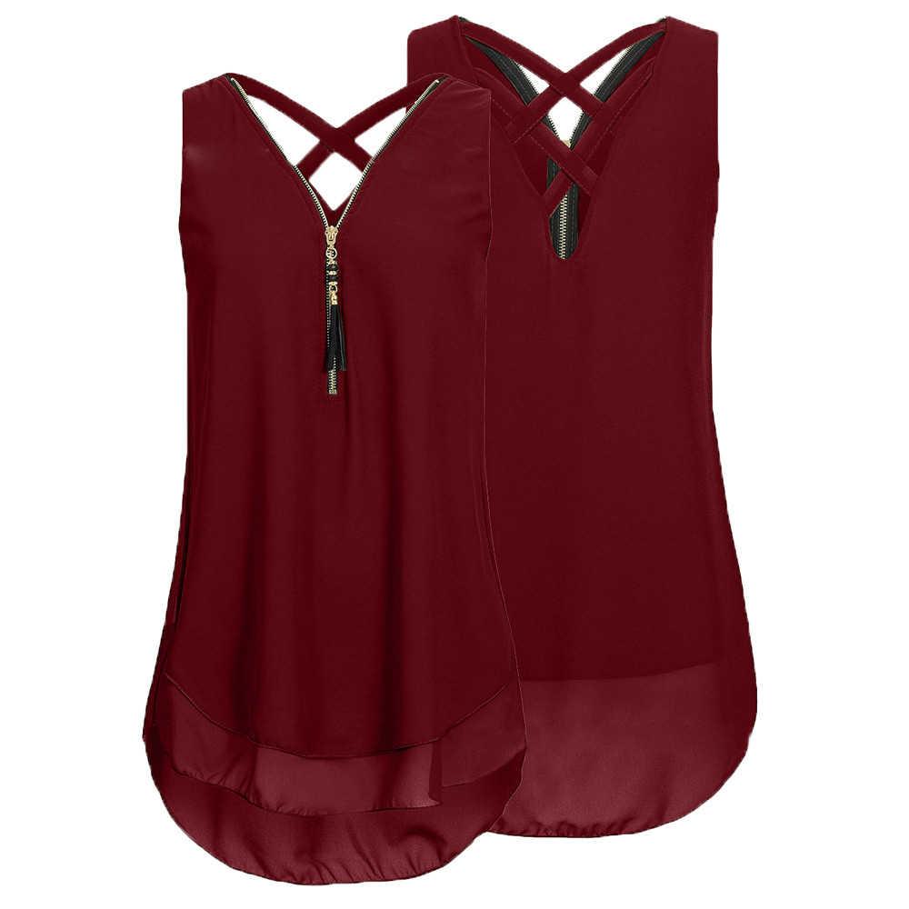 Yaz kadın bluz bayanlar gevşek kolsuz Tank Tops çapraz geri Hem katmanlı fermuar v yaka gömlek Tops
